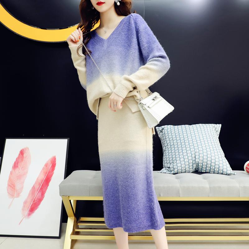 小清新套头毛衣套装女秋季2018新款韩版时尚网红针织包臀裙两件套