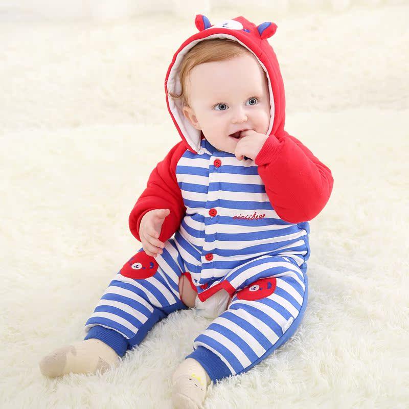 齐齐熊 新款婴儿衣服保暖连体衣条纹开裆加厚爬服哈衣宝宝棉服