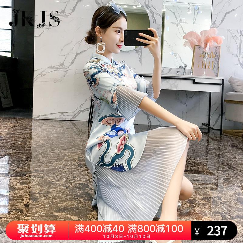 秋天旗袍长款长袖秋季2018新款女中国风女装改良版少女长袖连衣裙