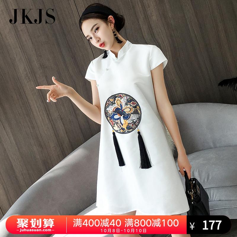 改良版旗袍女夏季2018新款时尚中国风女装少女娃娃裙民族风连衣裙