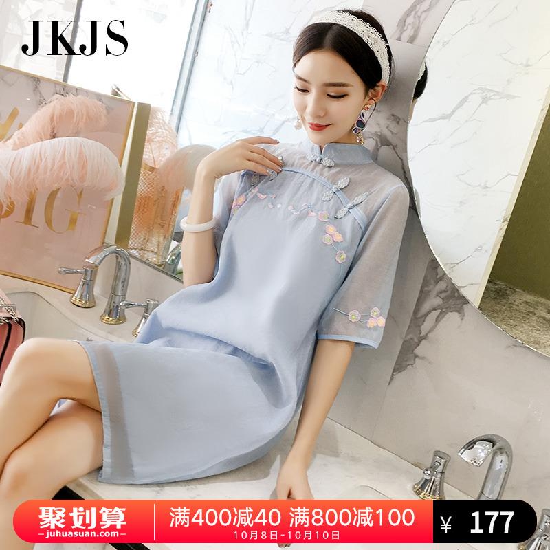 改良旗袍女夏季2018新款夏装时尚年轻少女中国风女装民族风连衣裙