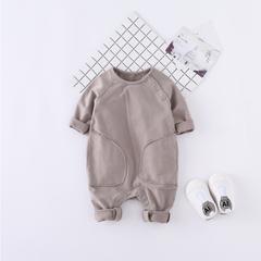 婴幼儿,纯棉,小小孩,长袖,秋装,全棉,宝宝,连体衣,针织,纯色,爬服,绿色,66cm