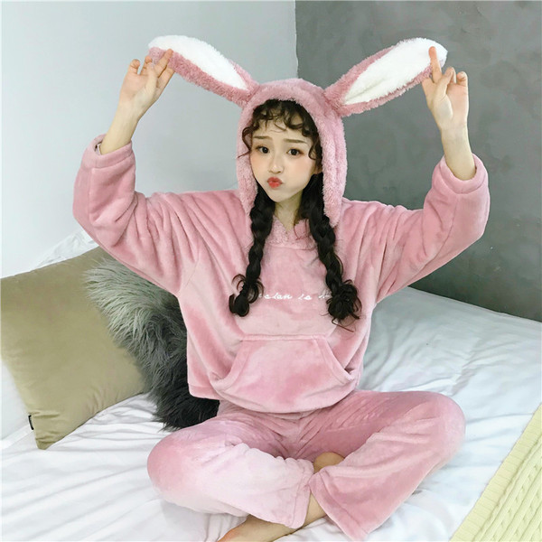 Real Shot Autumn And Winter Sweet Coral Velvet Korean Style Cartoon Cute Thick Flannel Suit Student Pajamas