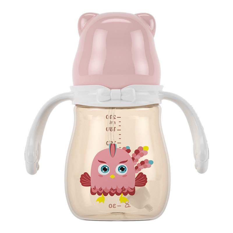 宝升新生婴儿奶瓶ppsu耐摔宽口径硅胶奶嘴六个月大宝宝鸭嘴吸管杯