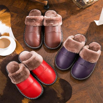 秋冬季皮棉拖鞋室内防滑加厚牛筋底情侣男女家居家保暖真皮拖鞋