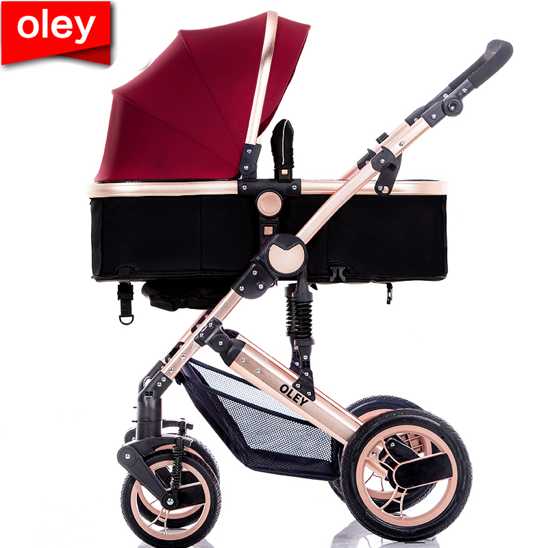 Ou Langao landscape baby stroller can sit reclining child baby bb trolley shock absorption folding light stroller