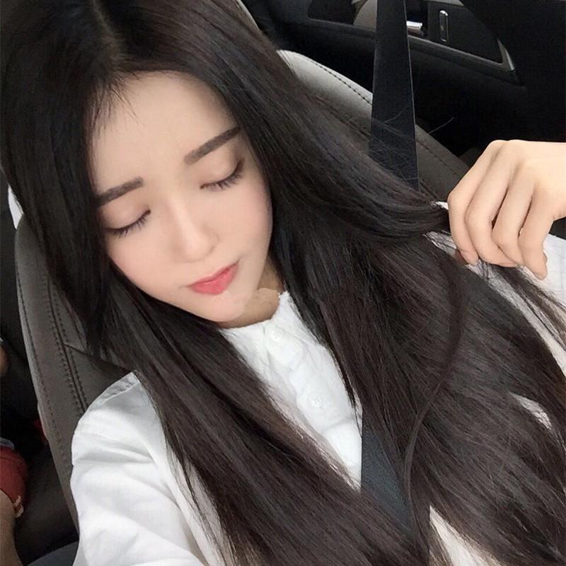 韩国网红女生假发女长发自然长直发学生黑色中分刘海隐形无痕圆脸_7折图片