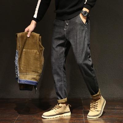 日系男士加绒加厚牛仔裤