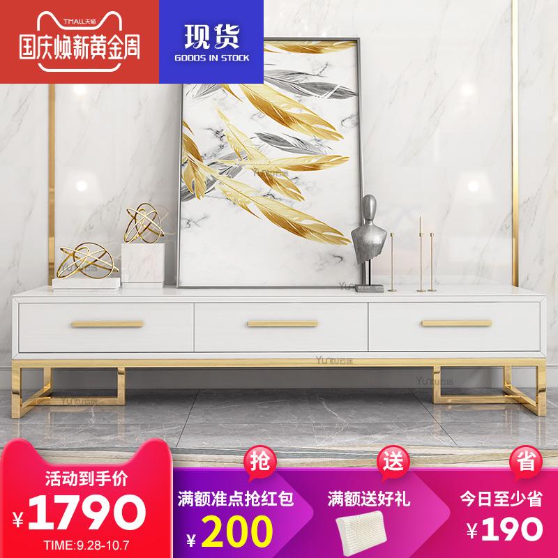 轻奢电视柜 后现代 镀金不锈钢简约钢琴黑白烤漆钢化玻璃客厅家具