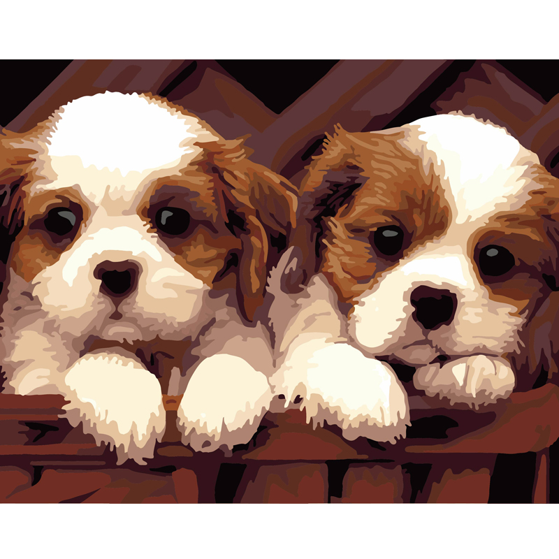 佳彩天颜动物手绘装饰画两只狗狗