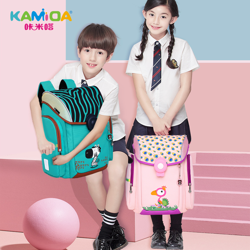 咔米嗒 school bag schoolgirl 1-3-4-6 grade children's school bag 2018 new boy backpack light