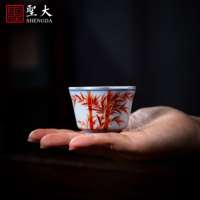 Santa teacups hand - made ceramic kungfu alum red trace silver do master cup all hand jingdezhen tea sample tea cup