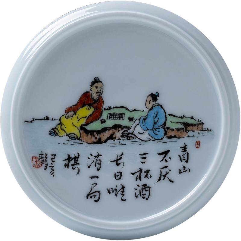 As Holy big ceramic cover rear right hand - made color new literati paintings tougue manual jingdezhen kung fu tea accessories