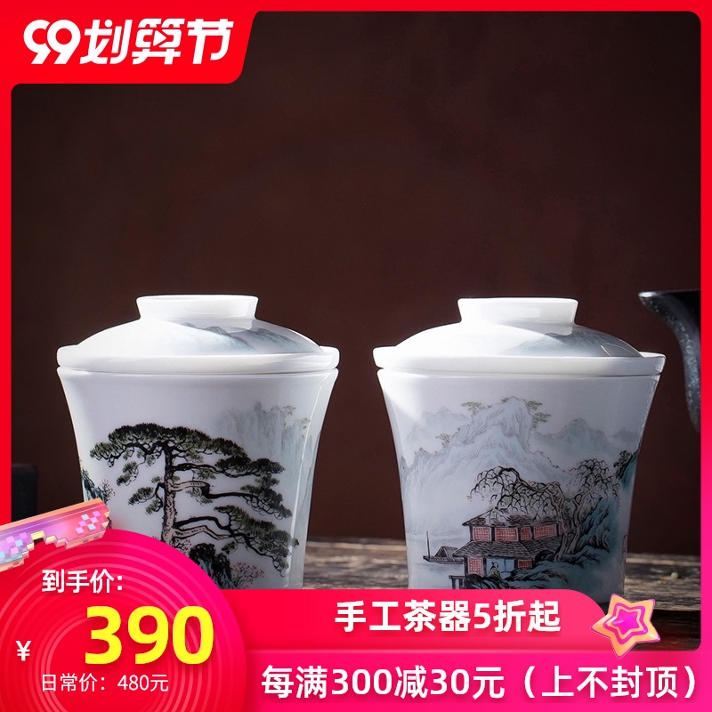 The big crack of pottery and porcelain cup with new color filter hand - made scenery all hand jingdezhen kung fu tea tea cup