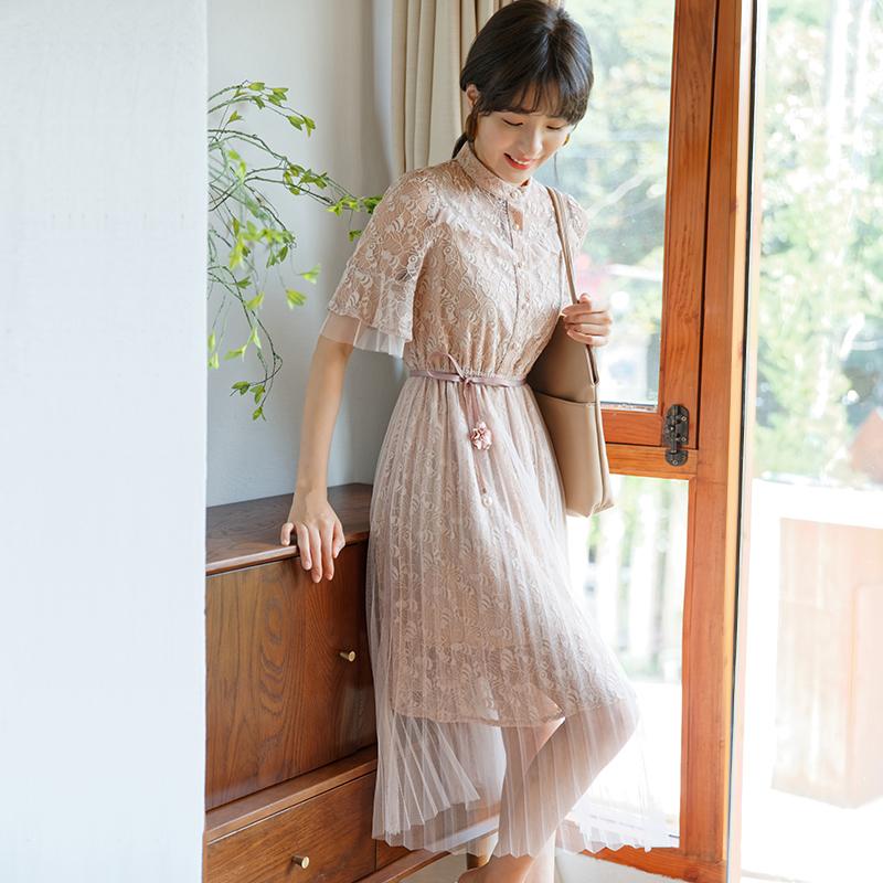 2018夏季新款女装蕾丝镂空收腰连衣裙女中长款修身百褶杏色淑女裙