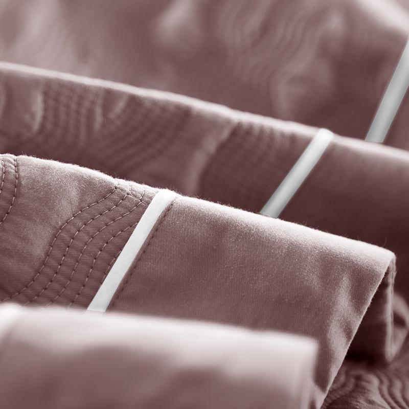 梦缇莎欧式素色纯棉床盖三件套加厚床单空调被美式全棉绗缝被罩