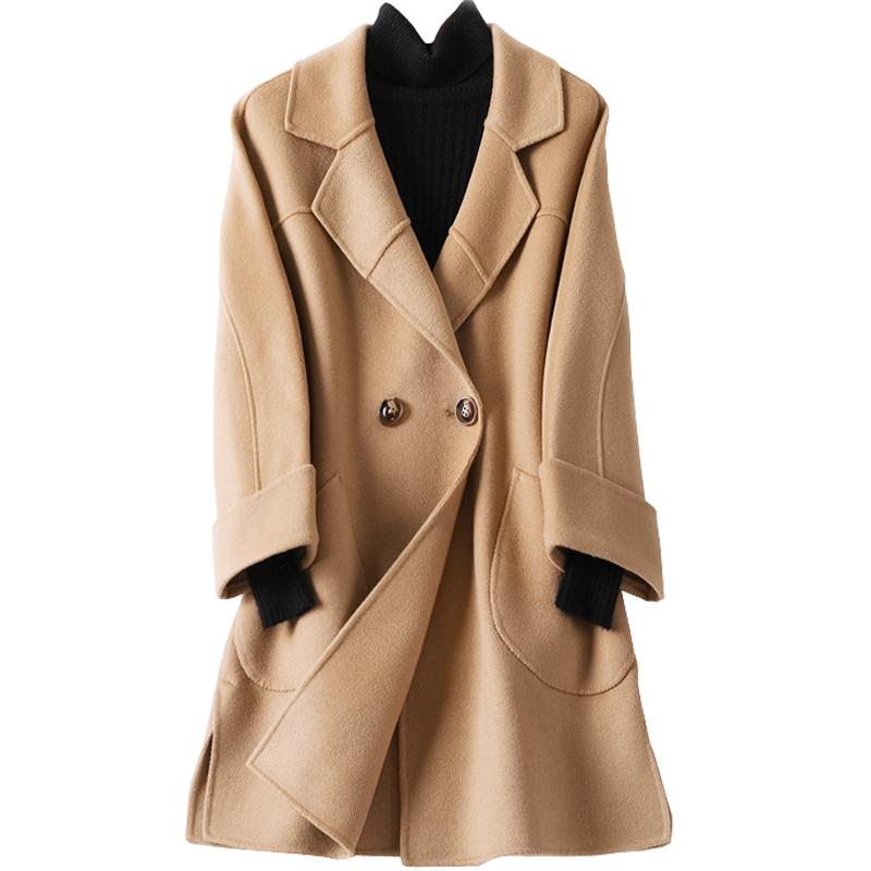 双面羊绒大衣女宽松茧型中长款2017韩版秋冬新款羊毛呢子女外套
