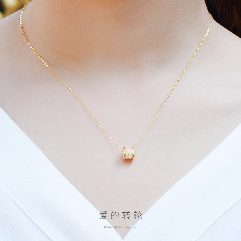彩金18K金项链女款玫瑰金黄金au750吊坠锁骨链套链正品K金首饰品