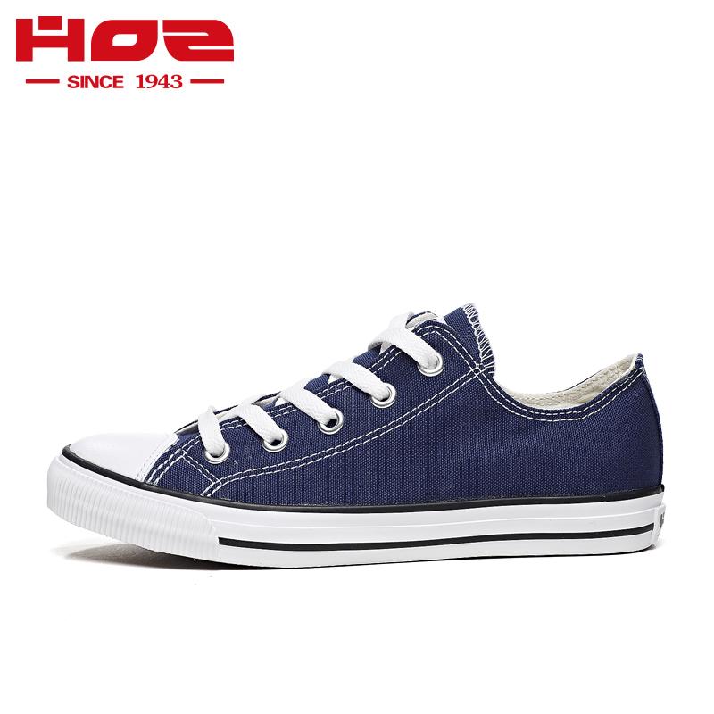 HOZ后街低帮帆布鞋女经典平底系带学生韩版情侣款春秋小白鞋板鞋