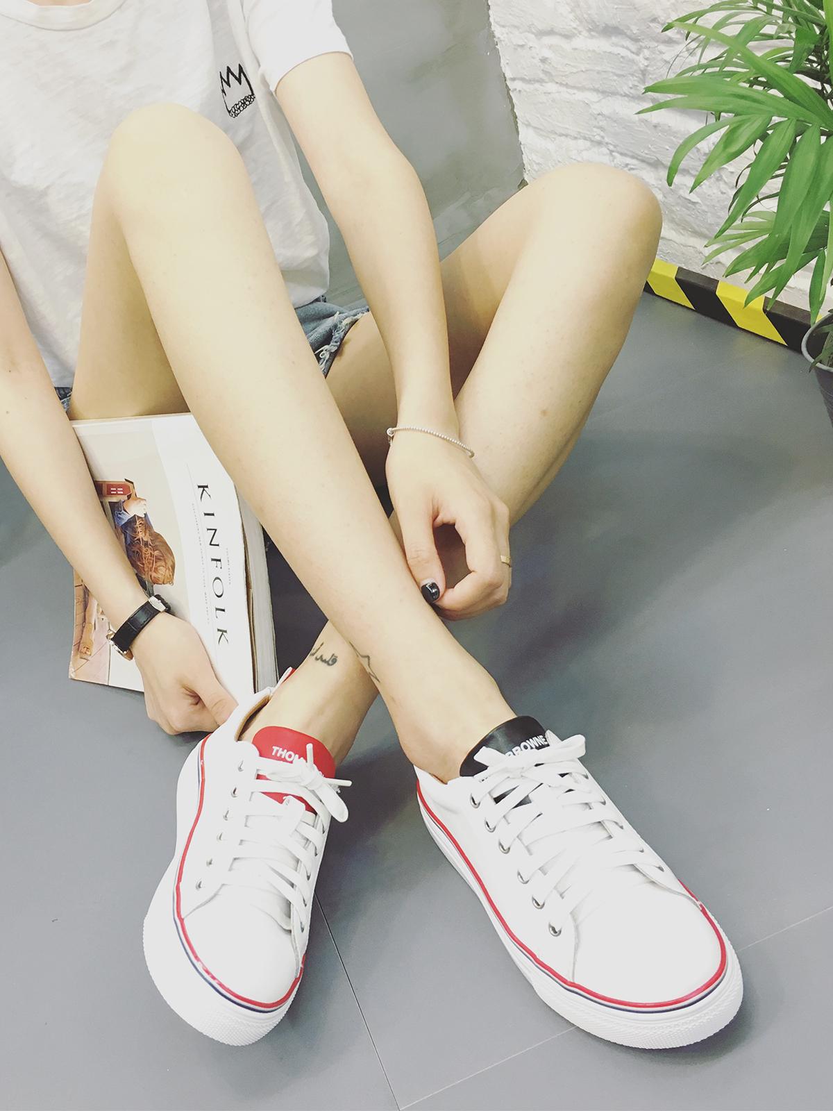 韩版2016夏季真皮女鞋鸳鸯小白鞋板鞋女休闲系带平底鞋时尚学