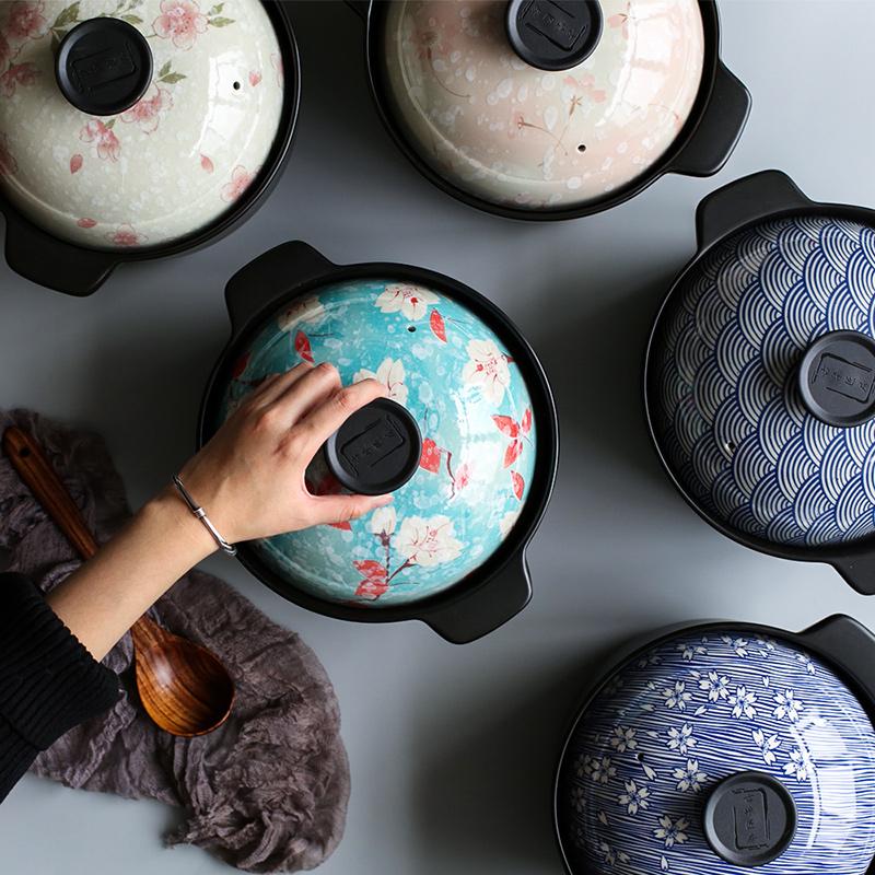 Island house in Japanese casserole pot soup pot of porridge household ceramic pan, high - temperature gas gas buner for stew stew