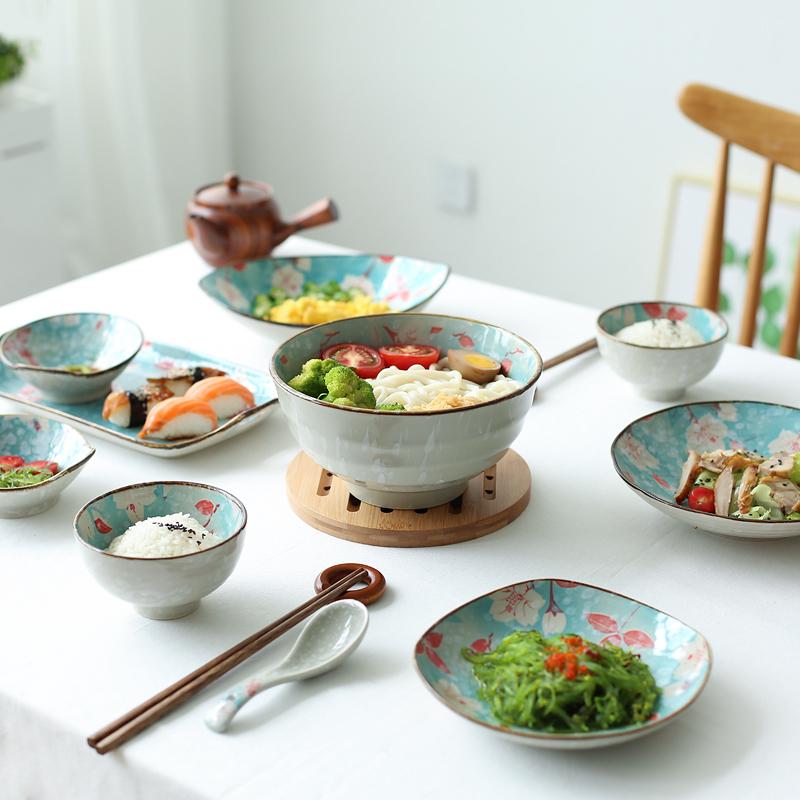 川岛屋 花季日式家用陶瓷二人食-六人食盘子汤碗碟套装餐具套装