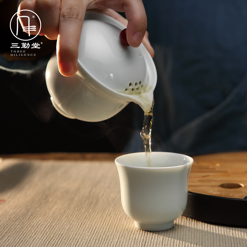 The three regular crack cup a pot of two cups of tea set household jingdezhen ceramic portable travel kung fu tea cups