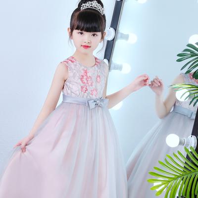 小风车彩虹夏季刺绣公主裙儿童长款礼服裙毕业晚会宴长裙女童主持表演出服装