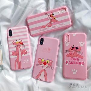苹果6s手机壳粉红顽皮豹iphone7女款粉色6plus硅胶软壳8X可爱卡通