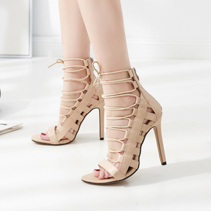 category/Shoes/Lace Up Thin Heel Boots Women Cross Strap Decorated Stiletto...