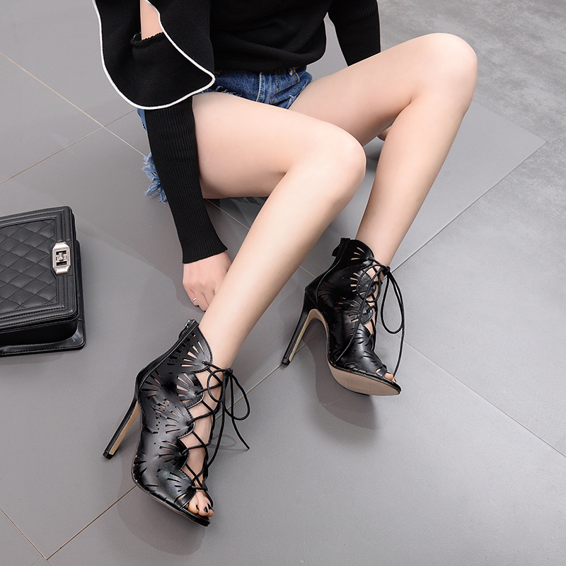 New Woman Pumps Solid Color Hollow laser Wood grain thick wi...
