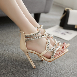 Sexy chain women's open toe shoes