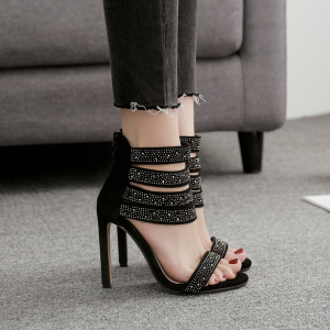 Women Summer Hollow Out Thick Heel Sandals Casual
