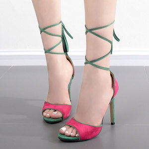 Green strap high-heeled sandals