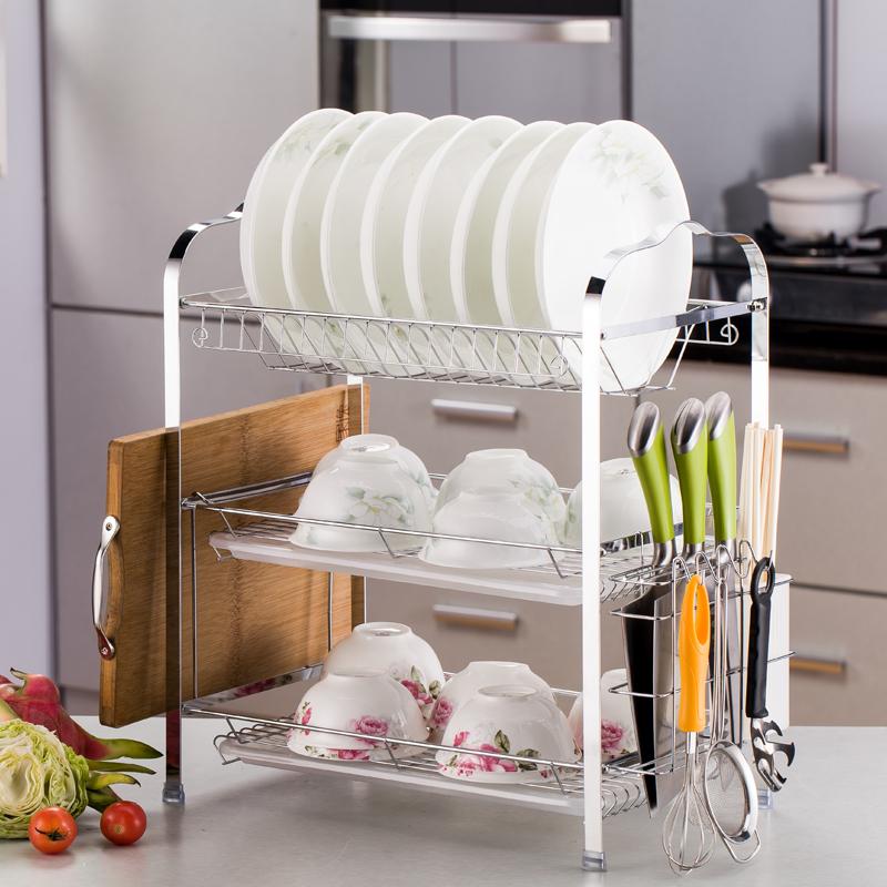 厨房碗架不锈钢色三层碗碟架沥水架收纳置物架放碗架滤控水晾碗架