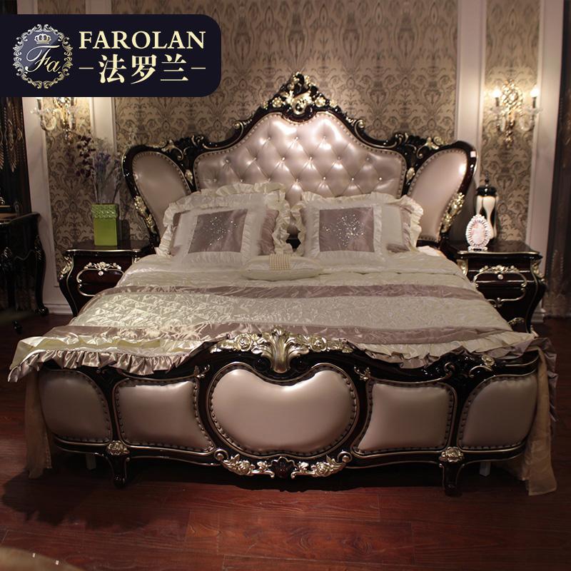 欧式床双人床实木真皮1.8米主卧床公主婚床高箱床法式家具G8818
