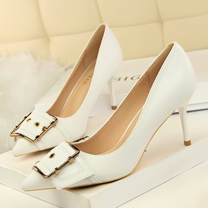 163-1 the European and American fashion professional OL shoes high-heeled shoes high heel with shallow mouth pointed met