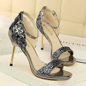 923-11 European and American fashion sexy high heels for women's shoes heel nightclub with waterproof sequins one w