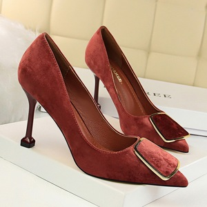 278-5: wind professional OL for women's shoes with high heels suede shallow mouth pointed sexy metal belt single shoe he