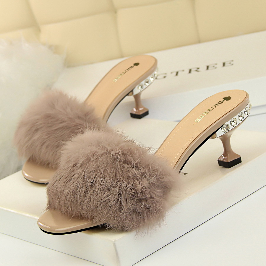 692-1 and half han edition fashion elegant wear slippers diamond fine with high heels maomao rabbit hair a words bring t
