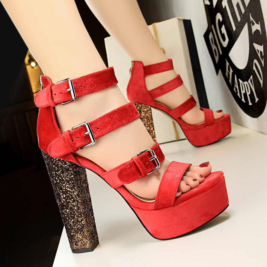 1550-5 in Europe and the Roman sequins thick with ultra high wind and waterproof suede belt buckle sexy club female sand