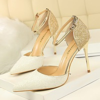 283-6 European and American Wind sexy nightclub, female heel, hollow shallow pointed tip, color changing, sequins, sandals, sandals.