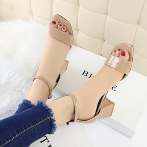 821-1 han edition fashion simple comfortable joker with square hollow out peep-toe shoes thick with high one word with s