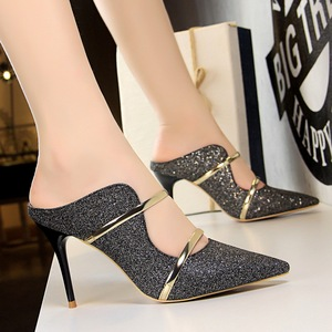 1788-1 the European and American wind fashion sexy club for women's shoes high heel with sequins cloth one word wit
