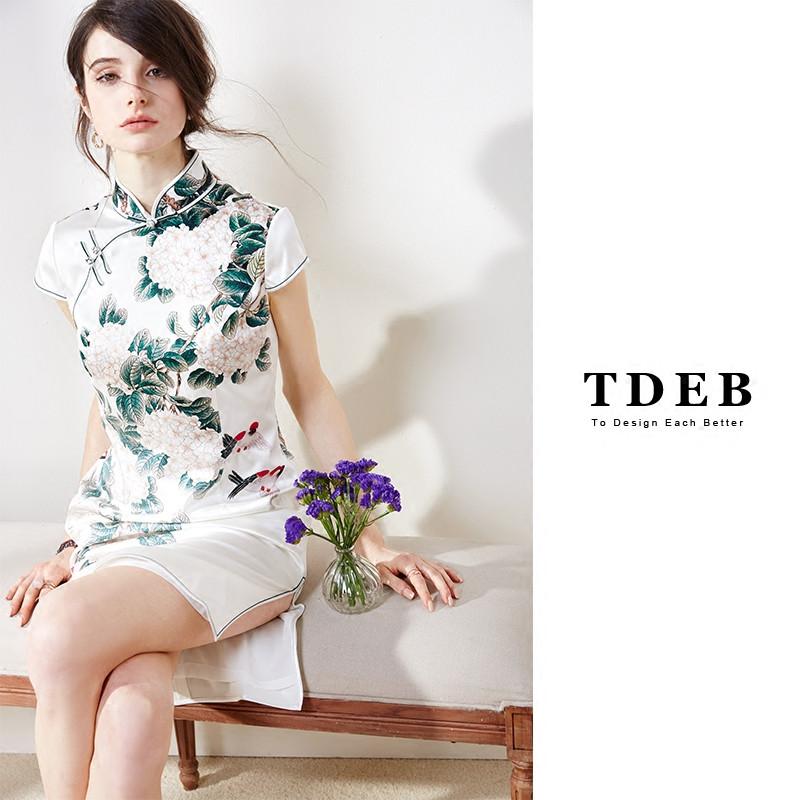 真丝旗袍中式改良春夏短款显瘦短袖修身杭州印花桑蚕丝复古连衣裙