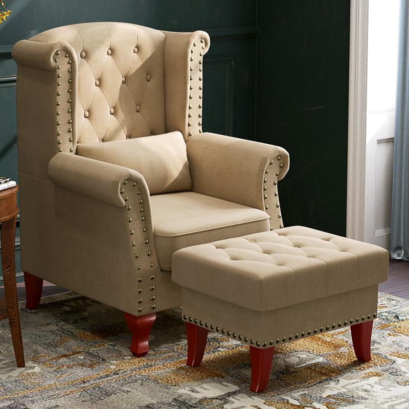 美式老虎椅懒人北欧布艺单人沙发咖啡厅客厅整装大小户型现代简约