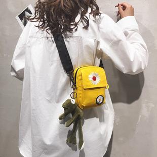 网红质感小包包2020新款潮时尚流行小雏菊ins百搭单肩斜挎帆布包