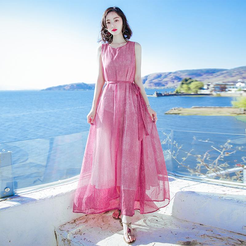2018夏季新款女装红色无袖雪纺连衣裙显瘦高腰长裙海边度假沙滩裙