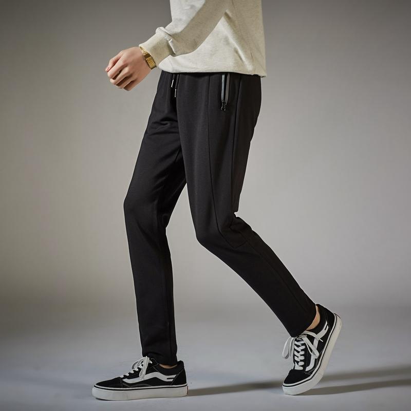 唐狮2018新款春季休闲裤男针织直筒裤男生黑色韩版潮流运动裤