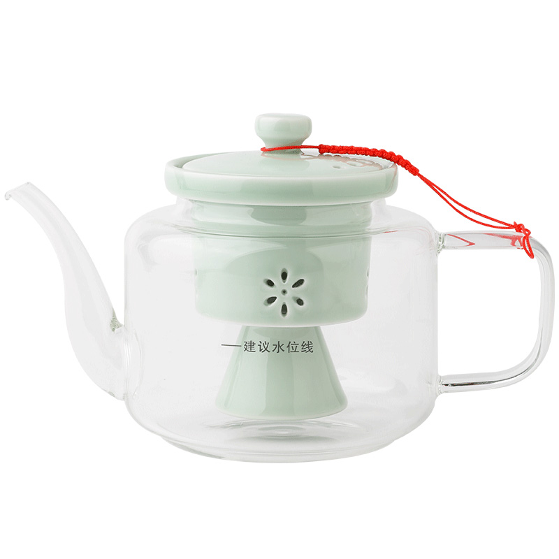 The Poly real boutique scene. Steam high borosilicate glass glass teapot tea steamer enamel - lined teapot keeping in good health